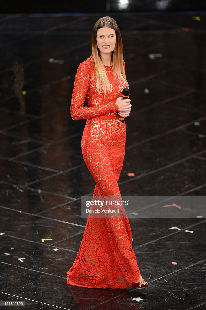 Model Bianca Balti attends the closing night of the 63rd Sanremo Song Festival at the Ariston Theatre on February 16, 2013 in Sanremo, Italy.