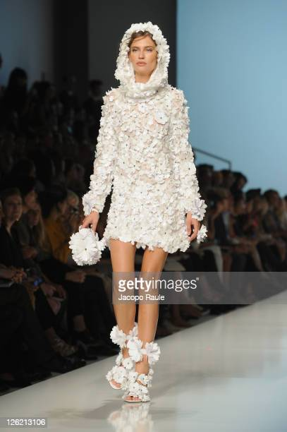 Model Bianca Balti walks the runway at the Blumarine Spring/Summer 2012 fashion show as part Milan Womenswear Fashion Week on September 23 2011 in...