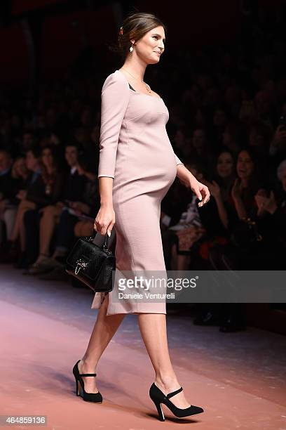 Model Bianca Balti walks the runway at the Dolce Gabbana show during the Milan Fashion Week Autumn/Winter 2015 on March 1 2015 in Milan Italy