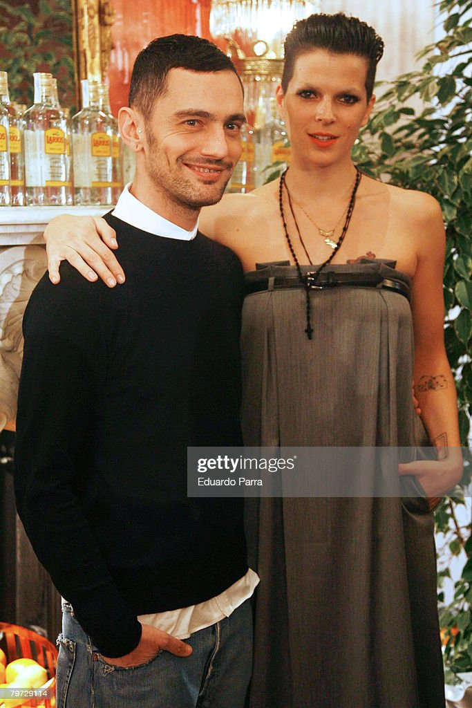 Model Bimba Bose and David Delfin attends Larios Fashion Calendar 2008 Presentation Party on February 12, 2008 at the Palkace Hotel in Madrid.