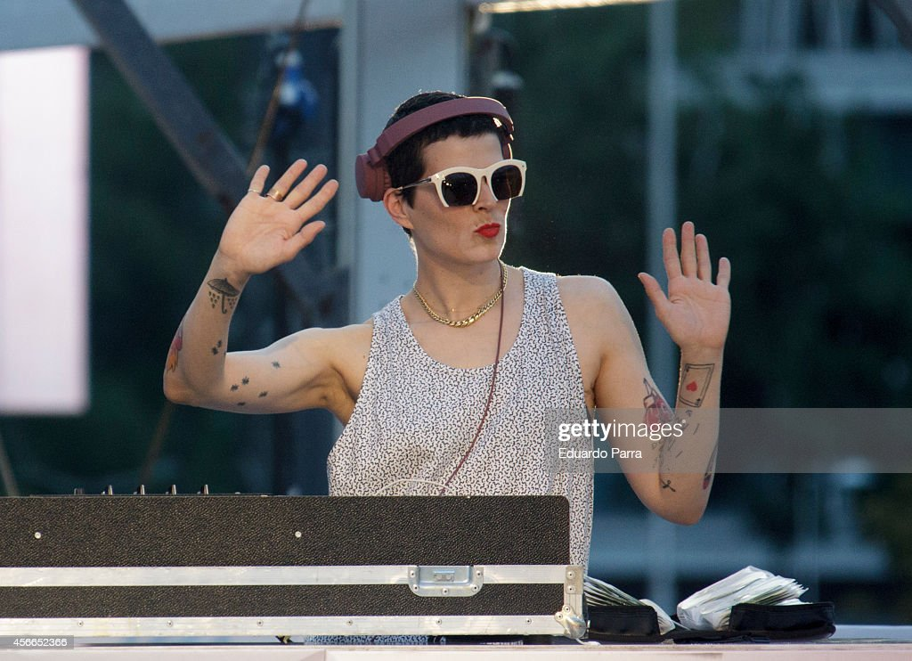 Model Bimba Bose performs during the Glamour Street Fashion Show parade at Colon square on October 4, 2014 in Madrid, Spain.