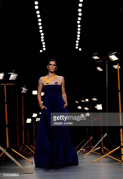 Model Bimba Bose walks the runway in the David Delfin fashion show during the Cibeles Madrid Fashion Week Spring/Summer 2011 at the Ifema on...