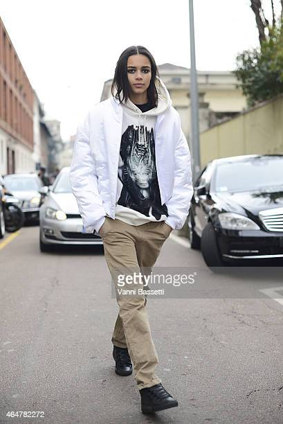 Model Binx Walton poses wearing an Hyein Seo jacket on February 28 2015 in Milan Italy