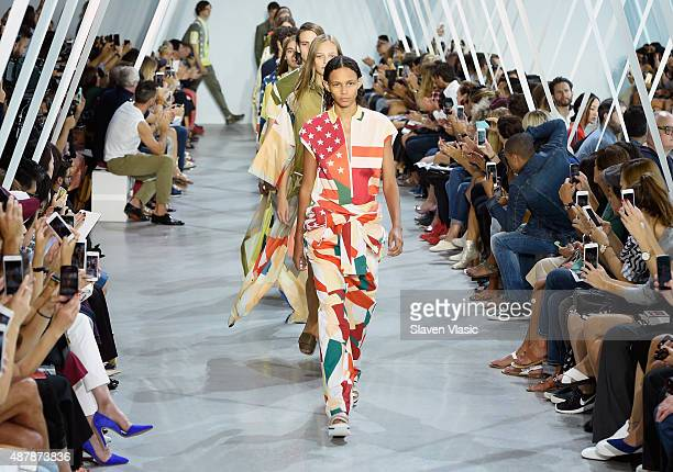 Model Binx Walton walks the runway wearing Lacoste Spring 2016 during New York Fashion Week at Spring Studios on September 12 2015 in New York City