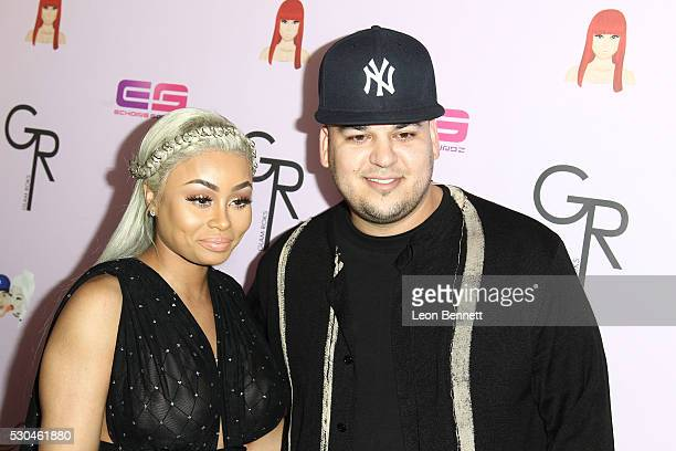 Model Blac Chyna and Rob Kardashian attends Birthday Celebration And Unveiling Of Her 'Chymoji' Emoji Collection at Hard Rock Cafe Hollywood CA on...