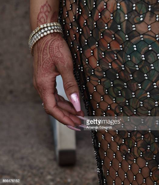 Model Blac Chyna bracelet manicure and henna tattoo detail attends the 3rd Annual Amber Rose SlutWalk on October 1 2017 in Los Angeles California