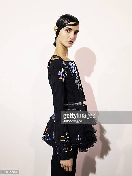 Model Blanca Padilla poses prior the Givenchy show as part of the Paris Fashion Week Womenswear Spring/Summer 2017 on October 2 2016 in Paris France