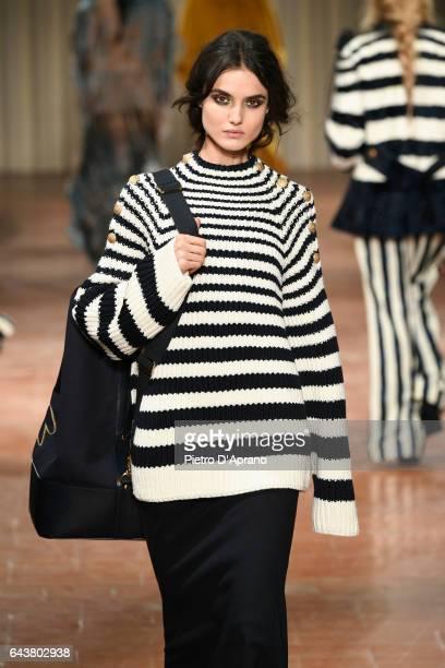 Model Blanca Padilla walks the runway at the Alberta Ferretti show during Milan Fashion Week Fall/Winter 2017/18 on February 22 2017 in Milan Italy