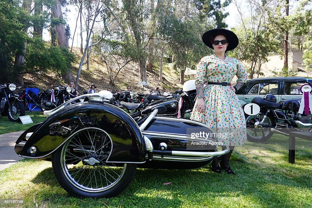 1954 model BMW R51-3 motorcycle is on display during Concours d'Elegance at Greystone Mansion in Beverly Hills, Los Angeles, USA, on May 2, 2016. 140 classic automobiles from 18 different categories are displayed during the Concours d'Elegance classic automobile show.