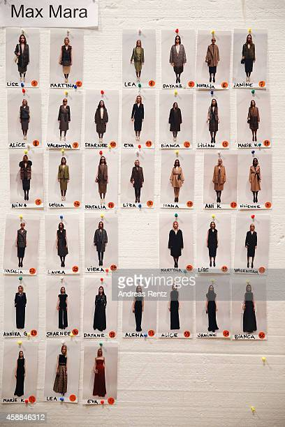 A model board backstage ahead of the Opening Night during the MercedesBenz Fashion Days Zurich 2014 on November 12 2014 in Zurich Switzerland