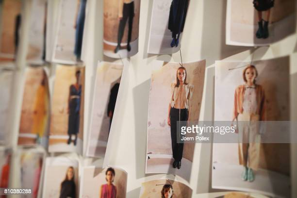 Model board is on display backstage ahead of the Michael Sontag show during the MercedesBenz Fashion Week Berlin Spring/Summer 2018 at Kaufhaus...