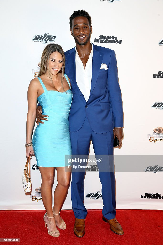 Model Bonnie-Jill Laflin (L) and former NBA player Kareem Rush attend the Sports Illustrated Experience Friday Night Party on February 5, 2016 in San Francisco, California.