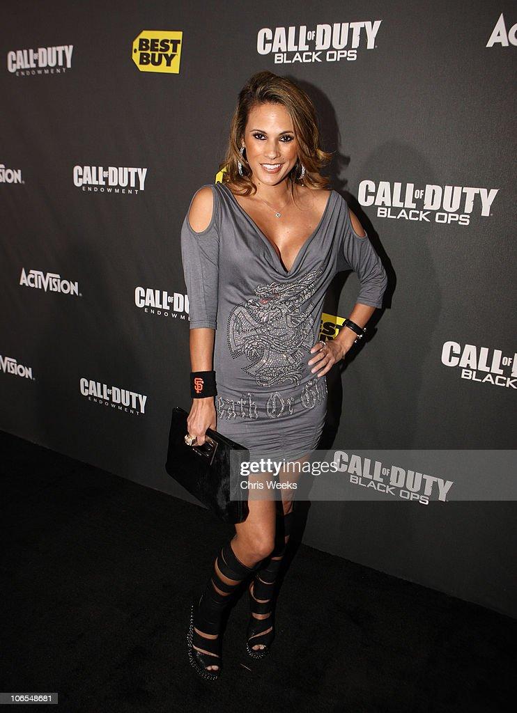 Model Bonnie-Jill Laflin arrives at the Call Of Duty: Black Ops Launch Party held at Barker Hangar on November 4, 2010 in Santa Monica, California.