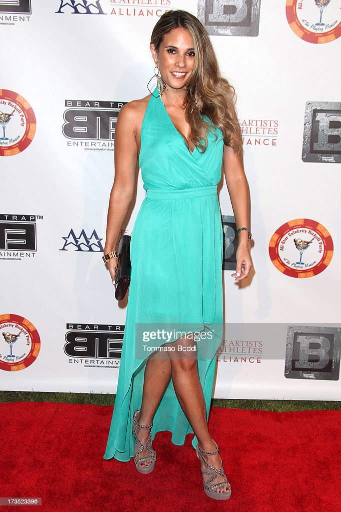 Model Bonnie-Jill Laflin attends the 8th annual BTE All-Star Celebrity Kickoff Party held at The Playboy Mansion on July 15, 2013 in Beverly Hills, California.