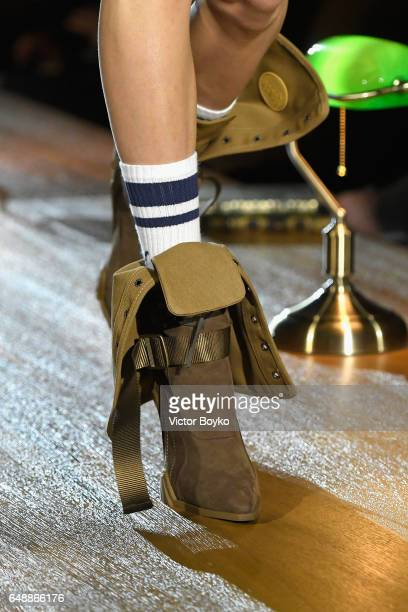A model boot detail walks the runway during FENTY PUMA by Rihanna Fall / Winter 2017 Collection at Bibliotheque Nationale de France on March 6 2017...