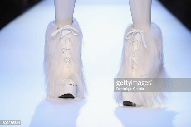 A model boot detail walks the runway during the Jean Paul Gaultier Haute Couture Fall/Winter 20172018 show as part of Haute Couture Paris Fashion...