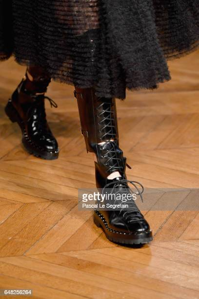 A model boot detail walks the runway during the Valentino show as part of the Paris Fashion Week Womenswear Fall/Winter 2017/2018 on March 5 2017 in...