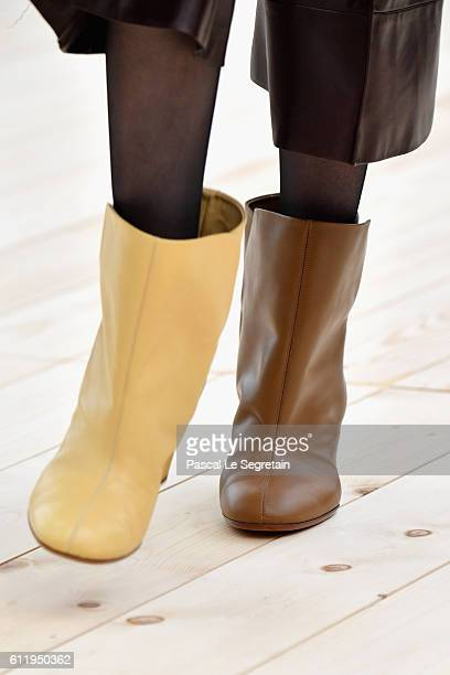 A model boots detail walks the runway during the Celine show as part of the Paris Fashion Week Womenswear Spring/Summer 2017 on October 2 2016 in...