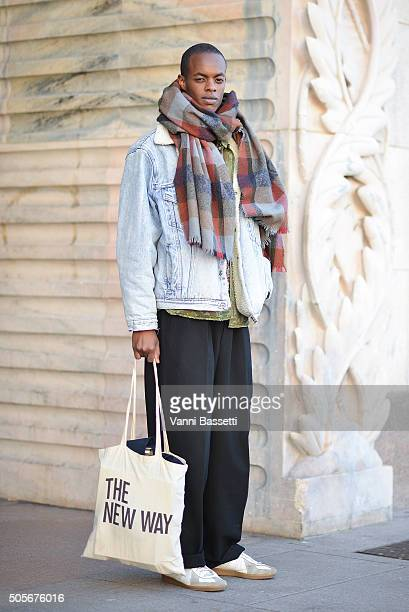 Model Brandon Kay poses after the Christian Pellizzari show during the Milan Men's Fashion Week Fall/Winter 2016/17 on January 19 2016 in Milan Italy