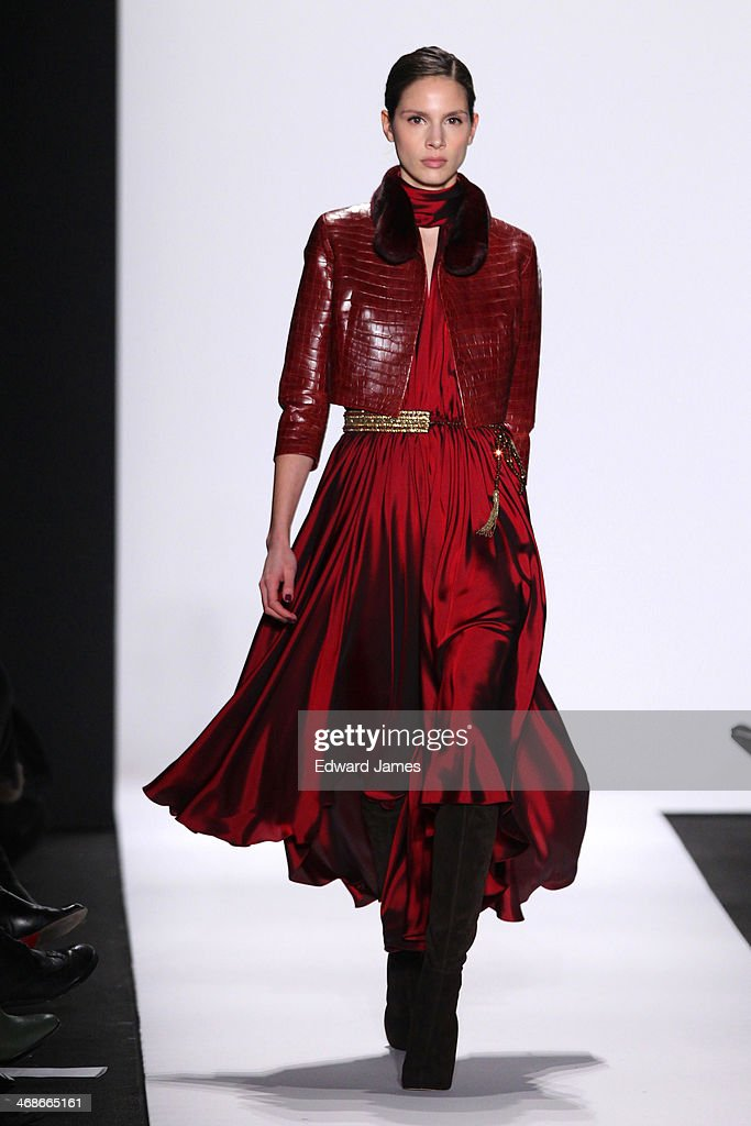 Model Brenda Kranz walks the runway at Dennis Basso during Mercedes-Benz Fashion Week Fall 2014 at The Theatre at Lincoln Center on February 10, 2014 in New York City.