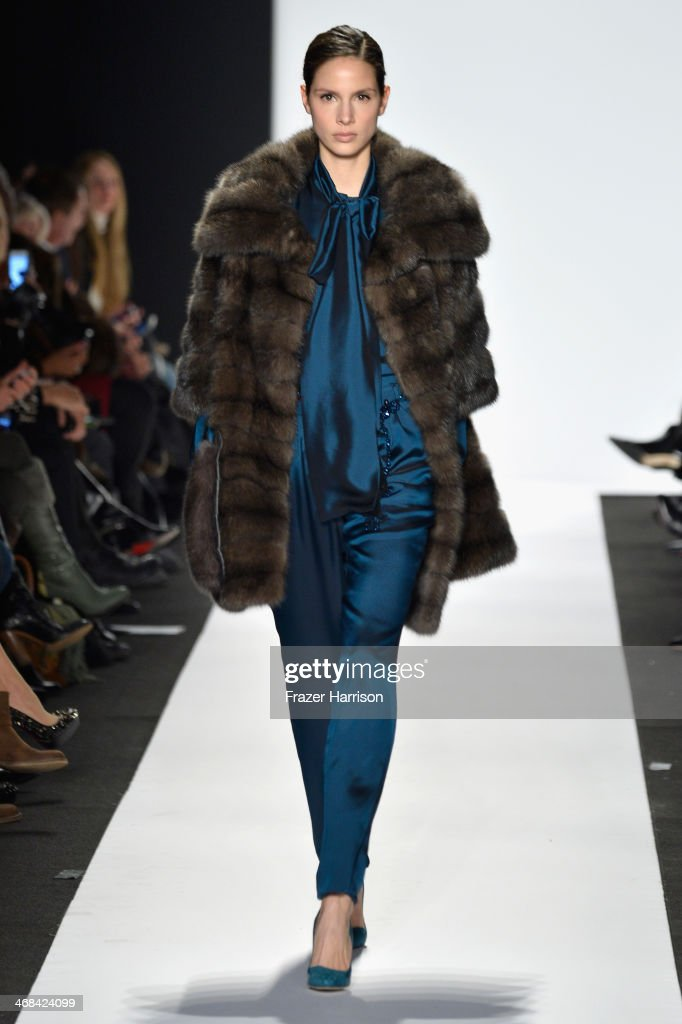 Model Brenda Kranz walks the runway at the Dennis Basso fashion show during Mercedes-Benz Fashion Week Fall 2014 at Lincoln Center on February 10, 2014 in New York City.