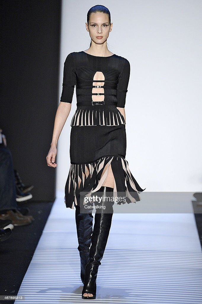 Model Brenda Kranz walks the runway at the Herve Leger by Max Azria Autumn Winter 2014 fashion show during New York Fashion Week on February 8, 2014 in New York, United States.