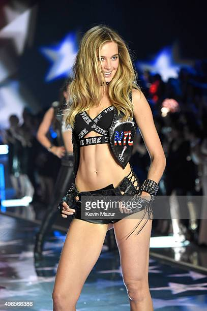Model Bridget Malcolm from Australia walks the runway during the 2015 Victoria's Secret Fashion Show at Lexington Armory on November 10 2015 in New...