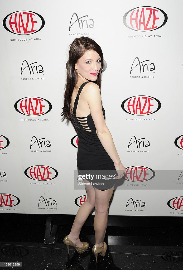 Model Brittney Berault arrives for Jillian Rose Reed's 21st birthday celebration at Haze Nightclub at the Aria Resort & Casino at CityCenter on December 20, 2012 in Las Vegas, Nevada.