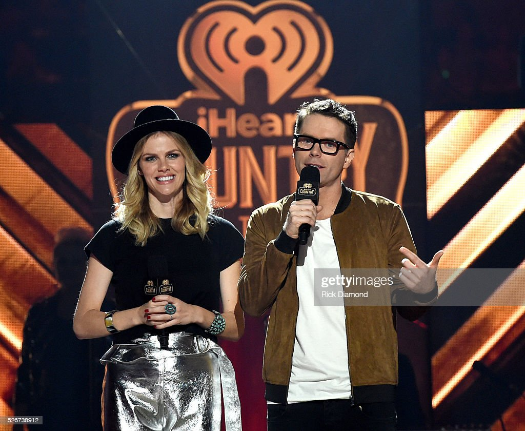 Model Brooklyn Decker and Radio personality Bobby Bones perform onstage during the 2016 iHeartCountry Festival at The Frank Erwin Center on April 30, 2016 in Austin, Texas.