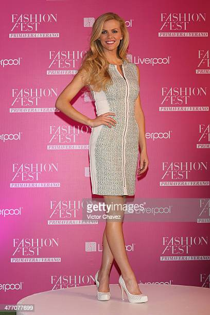 Model Brooklyn Decker attends a press conference during the Liverpool Fashion Fest Spring/Summer 2014 at Hipodromo de las Americas on March 6 2014 in...