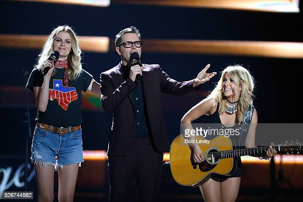 Model Brooklyn Decker radio personality Bobby Bones and singer Lindsay Ell perform onstage during the 2016 iHeartCountry Festival at The Frank Erwin...