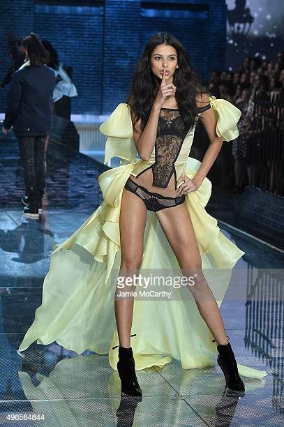 Model Bruna Lirio from Brazil walks the runway during the 2015 Victoria's Secret Fashion Show at Lexington Avenue Armory on November 10 2015 in New...