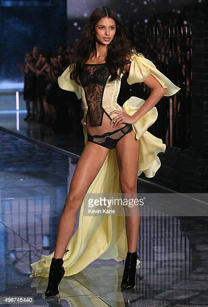 Model Bruna Lirio from Brazil walks the runway during the 2015 Victoria's Secret Fashion Show at Lexington Armory on November 10 2015 in New York City