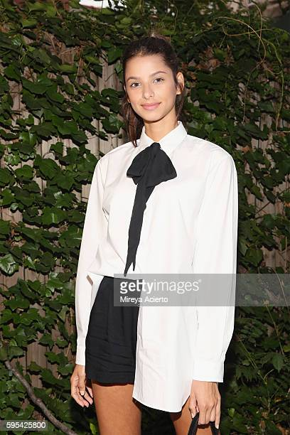 Model Bruna Lirio from Wihelmina Models prepares for New York Fashion Week at Verve Spa on August 25 2016 in New York City