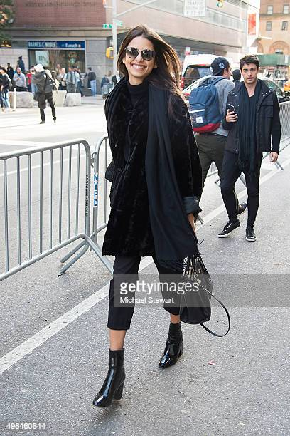 Model Bruna Lirio is seen arriving at rehearsals for the 2015 Victoria's Secret Fashion Show at the Lexington Avenue Armory on November 9 2015 in New...