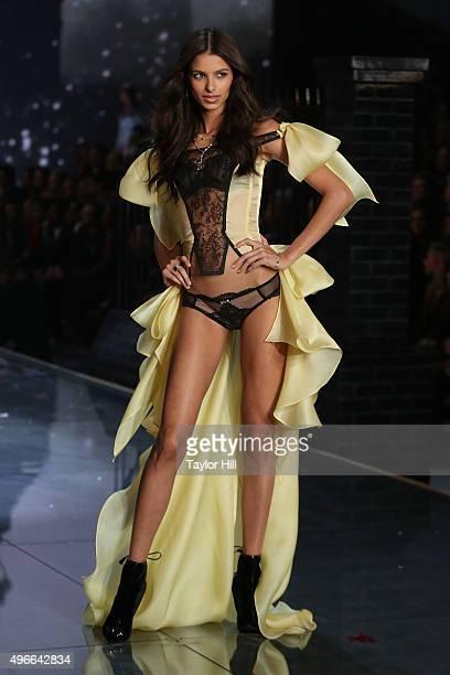 Model Bruna Lirio walks the runway during the 2015 Victoria's Secret Fashion Show at Lexington Avenue Armory on November 10 2015 in New York City