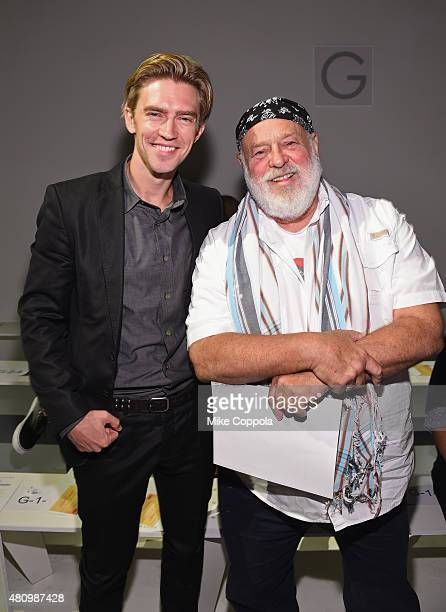 Model Caleb Lane and photographer Bruce Weber pose for a picture at the Parke Ronen mens fashion show at New York Fashion Week Men's S/S 2016at...