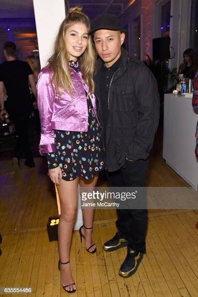 Model Cami Morrone and makeup artist Hung Vanngo attend Marc Jacobs Beauty Celebrates Kaia Gerber on February 15 2017 in New York City