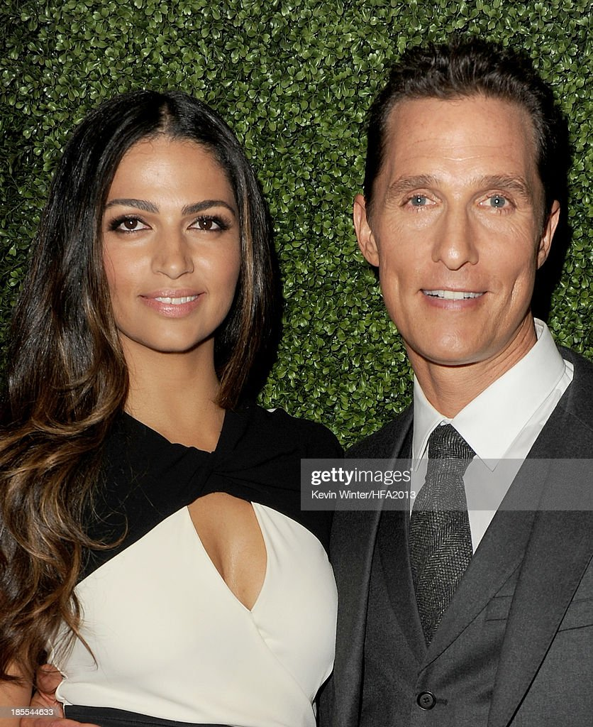 Model <a gi-track='captionPersonalityLinkClicked' href=/galleries/search?phrase=Camila+Alves&family=editorial&specificpeople=4501431 ng-click='$event.stopPropagation()'>Camila Alves</a> and actor <a gi-track='captionPersonalityLinkClicked' href=/galleries/search?phrase=Matthew+McConaughey&family=editorial&specificpeople=201663 ng-click='$event.stopPropagation()'>Matthew McConaughey</a> arrive at the 17th annual Hollywood Film Awards at The Beverly Hilton Hotel on October 21, 2013 in Beverly Hills, California.