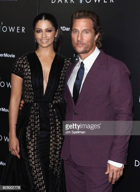 Model Camila Alves and actor Matthew McConaughey attend 'The Dark Tower' New York premiere at Museum of Modern Art on July 31 2017 in New York City