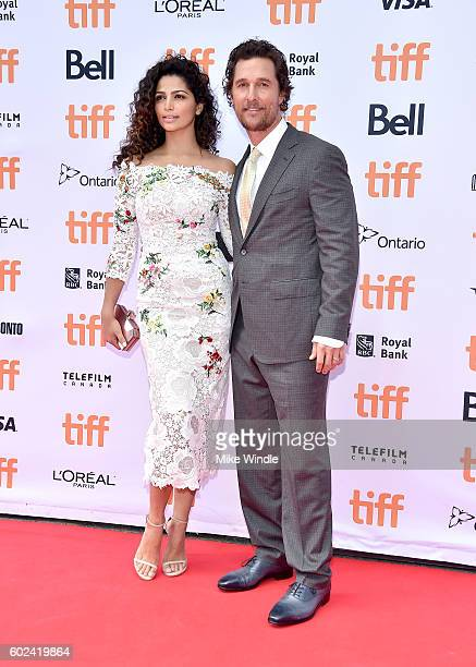 Model Camila Alves and actor Matthew McConaughey attend the 'Sing' premiere during the 2016 Toronto International Film Festival at Princess of Wales...