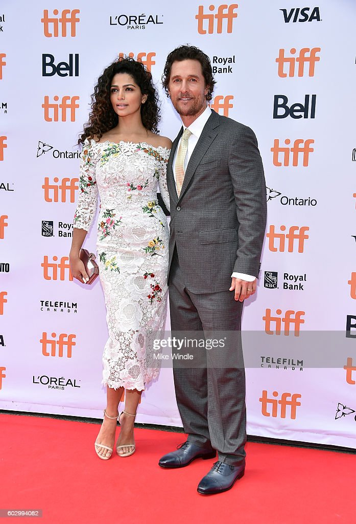 Model Camila Alves (L) and actor Matthew McConaughey attend the 'Sing' premiere during the 2016 Toronto International Film Festival at Princess of Wales Theatre on September 11, 2016 in Toronto, Canada.