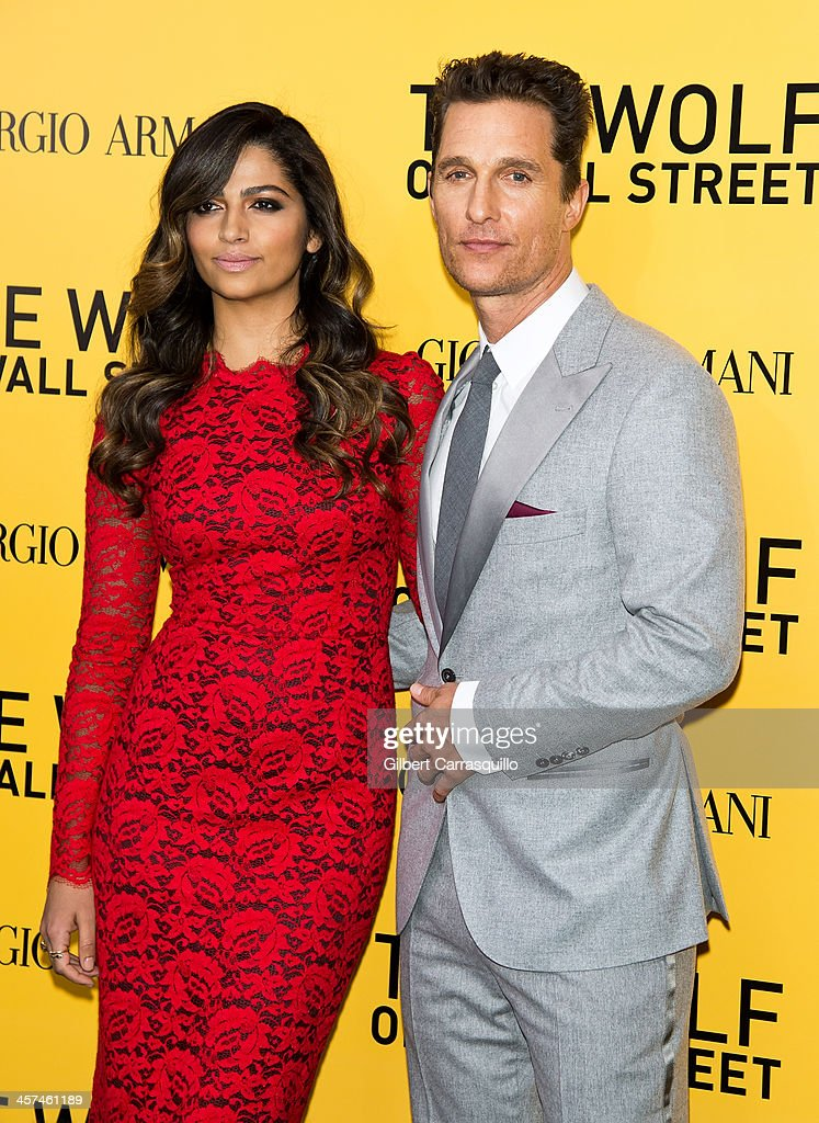 Model <a gi-track='captionPersonalityLinkClicked' href=/galleries/search?phrase=Camila+Alves&family=editorial&specificpeople=4501431 ng-click='$event.stopPropagation()'>Camila Alves</a> and actor <a gi-track='captionPersonalityLinkClicked' href=/galleries/search?phrase=Matthew+McConaughey&family=editorial&specificpeople=201663 ng-click='$event.stopPropagation()'>Matthew McConaughey</a> attend the 'The Wolf Of Wall Street' premiere at Ziegfeld Theater on December 17, 2013 in New York City.