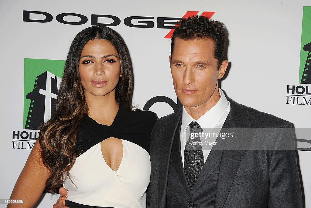 Model Camila Alves and actor/honoree Matthew McConaughey (R) arrive at the 17th Annual Hollywood Film Awards at The Beverly Hilton Hotel on October 21, 2013 in Beverly Hills, California.