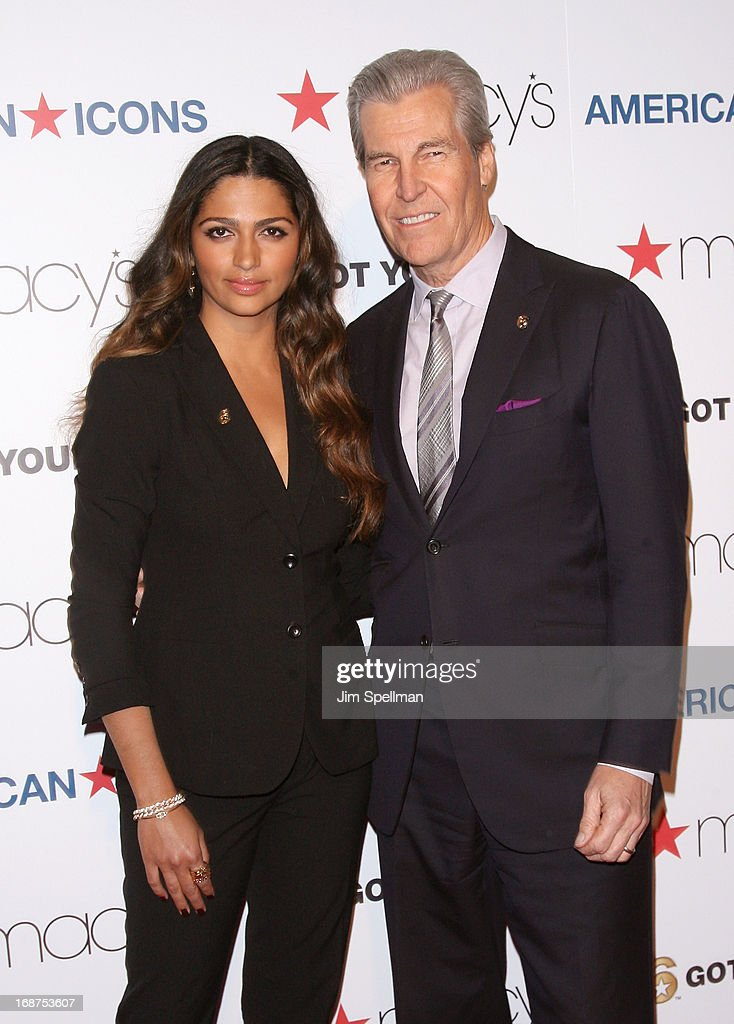 Model <a gi-track='captionPersonalityLinkClicked' href=/galleries/search?phrase=Camila+Alves&family=editorial&specificpeople=4501431 ng-click='$event.stopPropagation()'>Camila Alves</a> and CEO, Chairman of the Board, President, and Director at Macy's, Inc Terry J. Lundgren attend Macy's 'American Icons' Campaign Launch at Gotham Hall on May 14, 2013 in New York City.