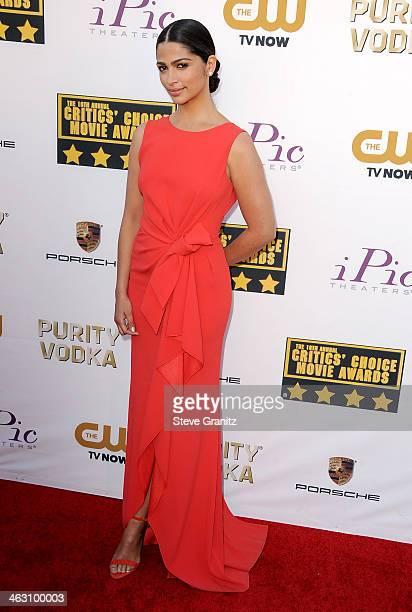 Model Camila Alves attends the 19th Annual Critics' Choice Movie Awards at Barker Hangar on January 16 2014 in Santa Monica California