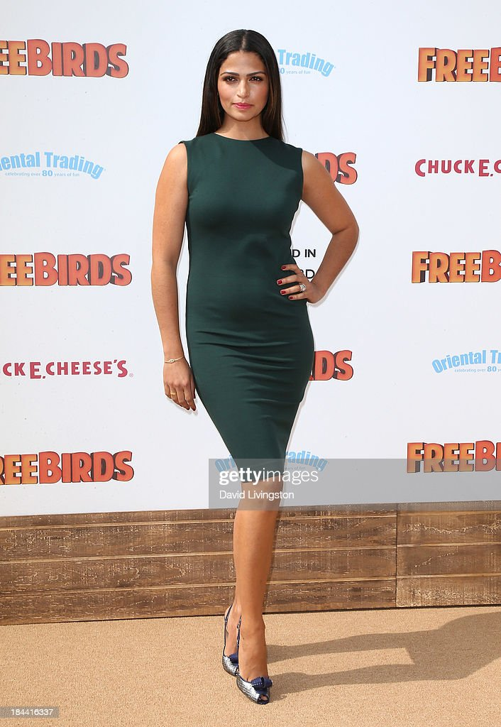 Model <a gi-track='captionPersonalityLinkClicked' href=/galleries/search?phrase=Camila+Alves&family=editorial&specificpeople=4501431 ng-click='$event.stopPropagation()'>Camila Alves</a> attends the premiere of Relativity Media's 'Free Birds' at the Westwood Village Theatre on October 13, 2013 in Westwood, California.