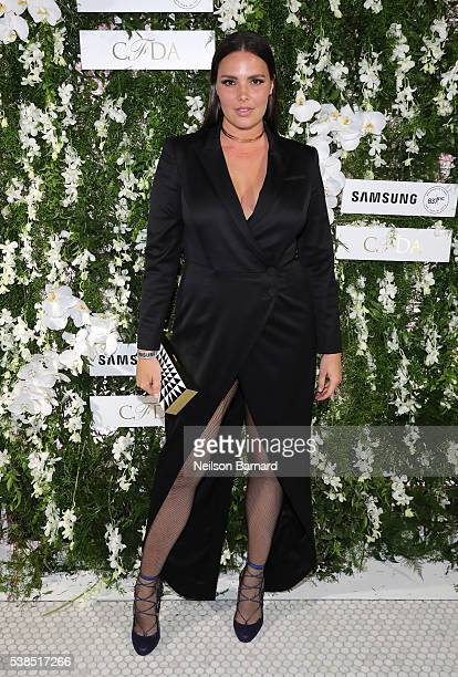Model Candice Huffine arrives at the official 2016 CFDA Fashion Awards after party hosted by Samsung 837 in NYC on June 6 2016 in New York City
