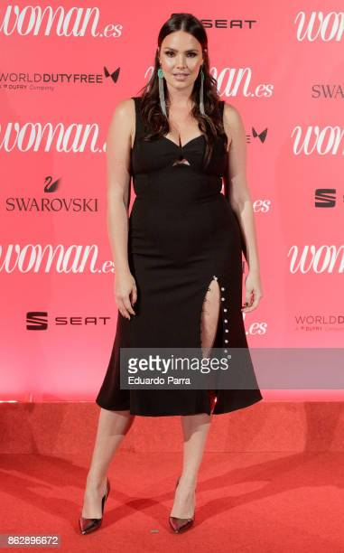 Model Candice Huffine attends the 'Woman 25th anniversary' photocall at Madrid Casino on October 18 2017 in Madrid Spain