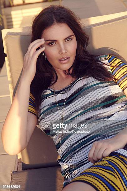 Model Candice Huffine is photographed for Madame Figaro on December 26 2015 in Paris France Dress earrings necklace CREDIT MUST READ Matias...
